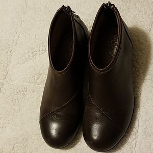 EUC leather wedge ankle boots